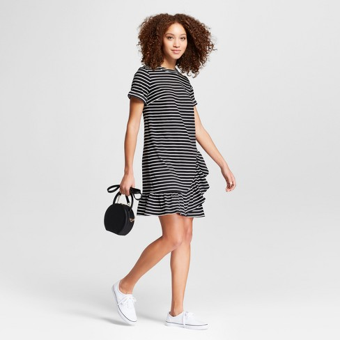 Women's Striped Short Sleeve Asymmetrical Ruffle Hem T-Shirt Dress - A New Day™ Black/White - image 1 of 3