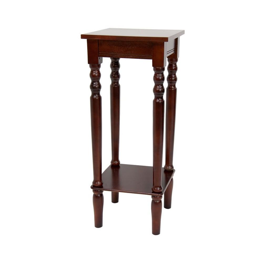 28 Classic Square Plant Stand Black - Oriental Furniture, Brown