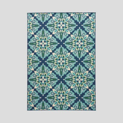 6'7  x 9'2  Kaia Medallion Outdoor Rug Blue/Green - Christopher Knight Home