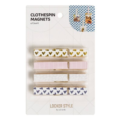 4pk Locker Clothespin Magnets Simple Chic - U Brands
