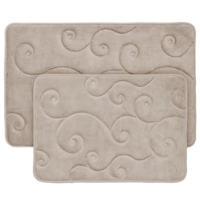 Swirl Memory Foam Bath Mat 2pc Taupe - Yorkshire Home