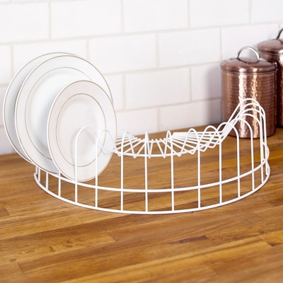 Lakeside Farmhouse Kitchen Dish Drying Rack - Stores Easily in Cabinets -