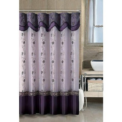 Kate Aurora Royal Living Daphne Embroidered Sheer & Taffeta Fabric Shower Curtain