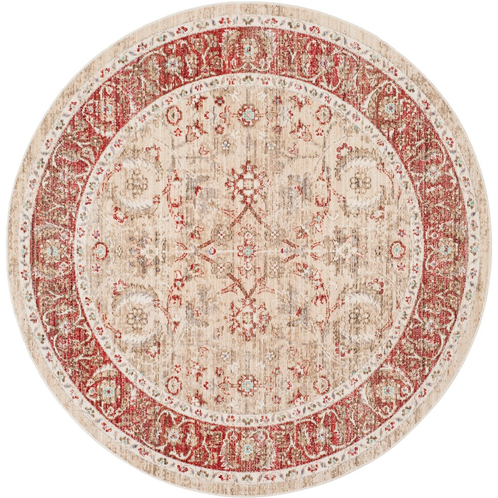 6' Floral Loomed Round Area Rug Ivory/Red - Safavieh, White