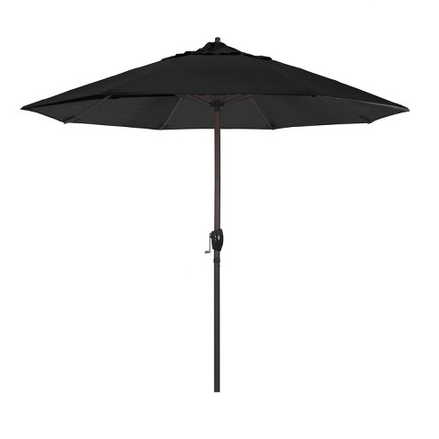 9' Aluminum Auto Tilt Crank Lift Patio Umbrella - Black - image 1 of 6