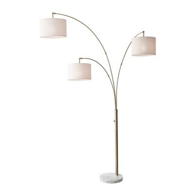 "74"" 3 Arm Bowery Arc Lamp Antique Brass  - Adesso"