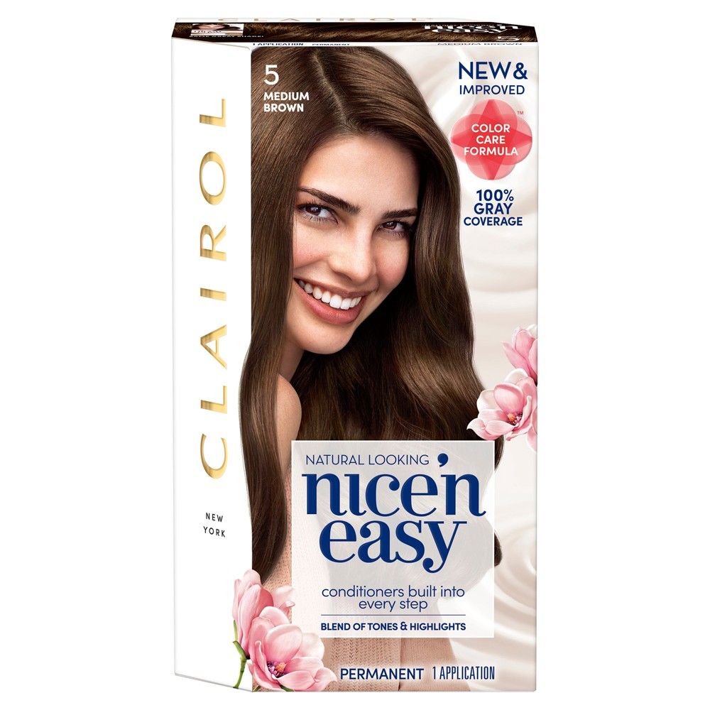 Image of Clairol Nice 'N Easy Permanent Hair Color - 5 Medium Brown - 1 kit