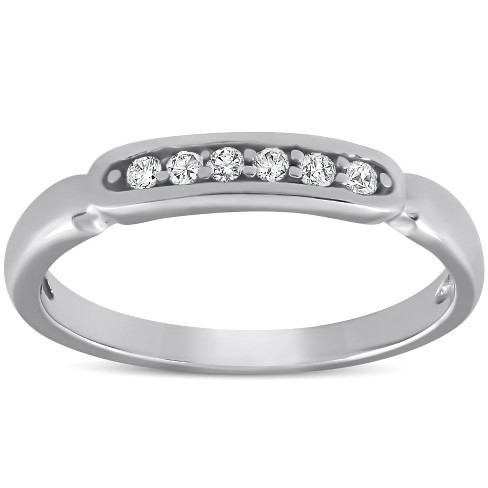 Pompeii3 White Gold 1/10ct Diamond Anniversary Wedding Womens Promise Ring High Polished - image 1 of 4