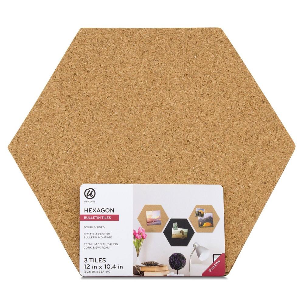 Image of UBrands Reversible Cork Hex Tiles 3ct, Brown
