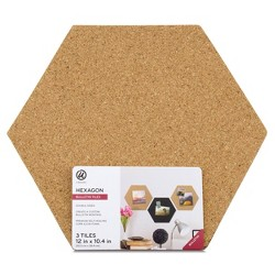 3ct Hexagon Cork Bulletin Board Tiles - U-Brands