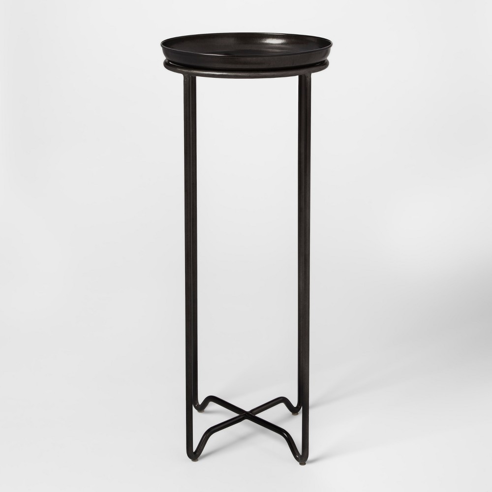 Metal Plant Stand with Galvanized Tray Tall - Smith & Hawken, Black