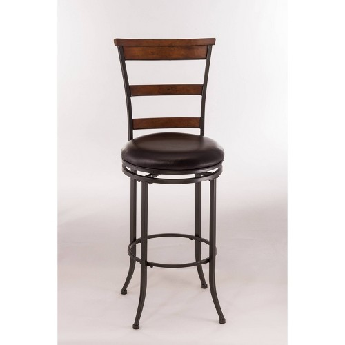 'Cameron Swivel Ladderback 26'' Counter Stool Metal/Chestnut Brown - Hillsdale Furniture'