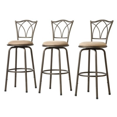Set of 3 Camilla Adjustable Swivel Barstool Double Cross Back Peat Brown - Inspire Q