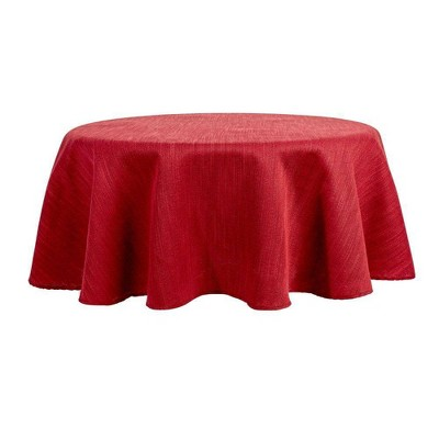 """70"""" Round Harper Tablecloth Maroon - Town & Country Living"""