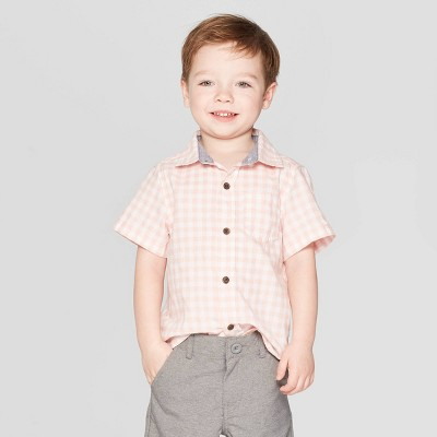 Toddler Boys' Gingham Short Sleeve Button-Down Shirt - Cat & Jack™ Pink 18M