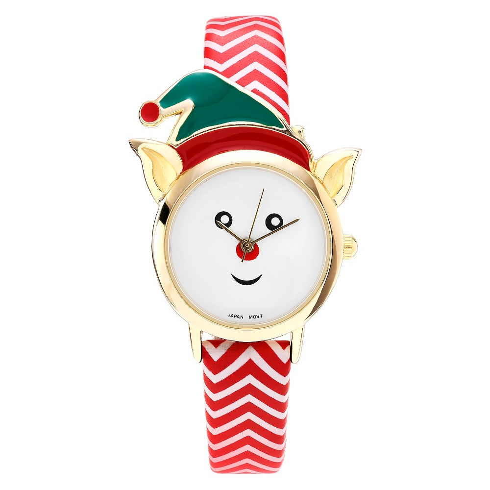 Women's Geneva Platinum Elf Face Leather Strap Watch - Red