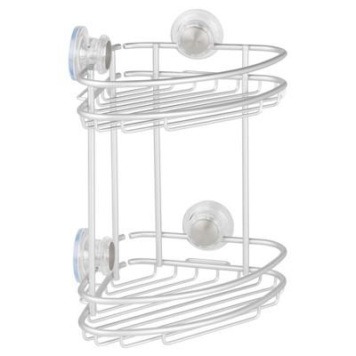 Rustproof Aluminum Turn-N-Lock Suction Bathroom Shower Corner Basket 2 Tiers Silver - iDESIGN