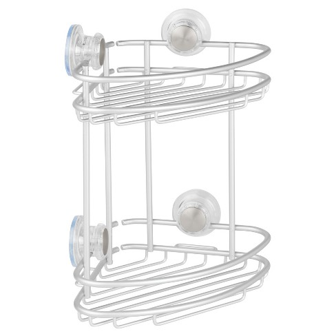 Rustproof Aluminum Turn-N-Lock Suction Bathroom Shower Corner Basket 2 Tiers Silver - iDESIGN - image 1 of 4