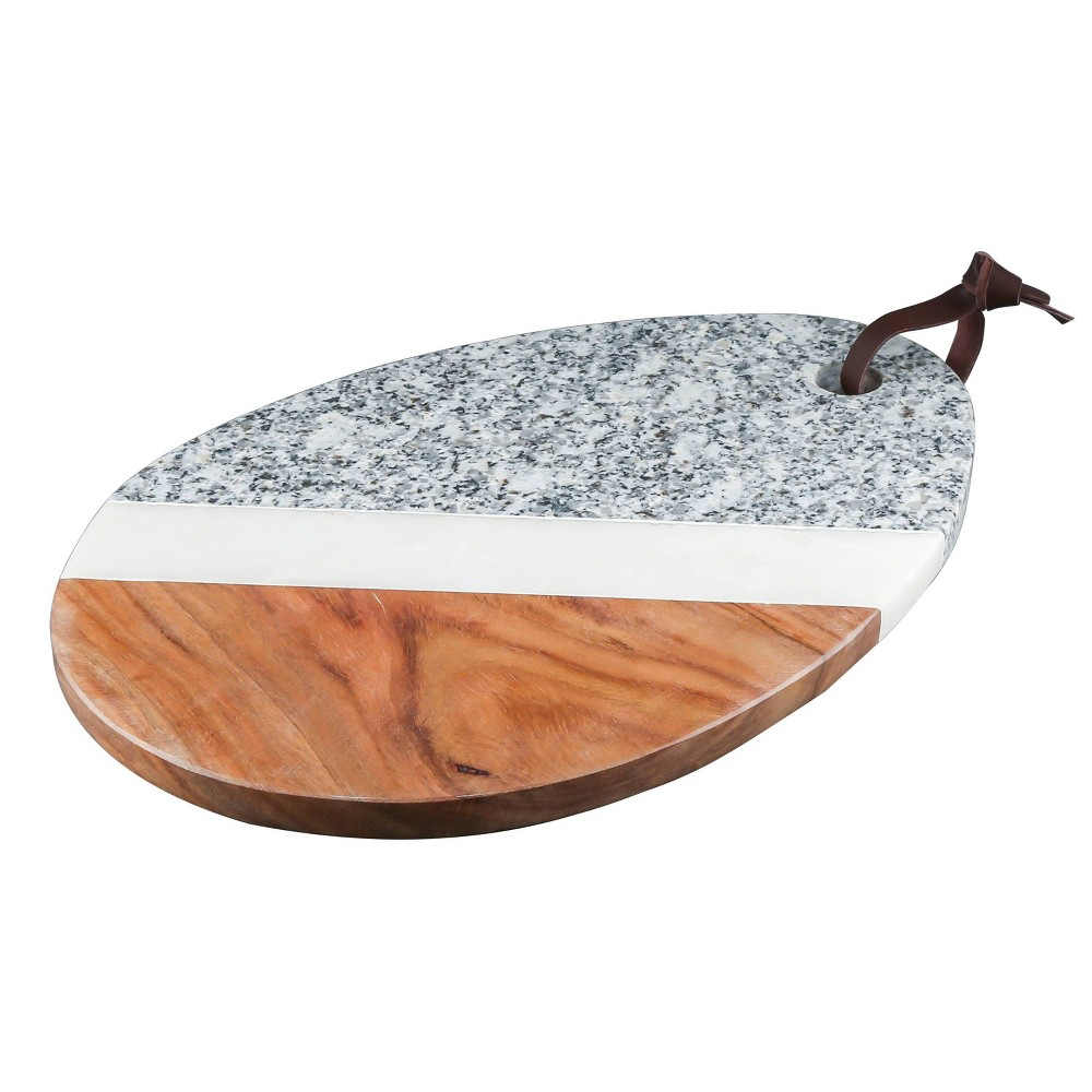 "Image of ""12"""" x 8"""" Marble and Sheesham Wood Oval Serving Tray White - Thirstystone"""