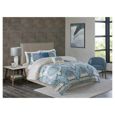 Blue & Gray Adhira Global Medallion Comforter Set (King)5pc