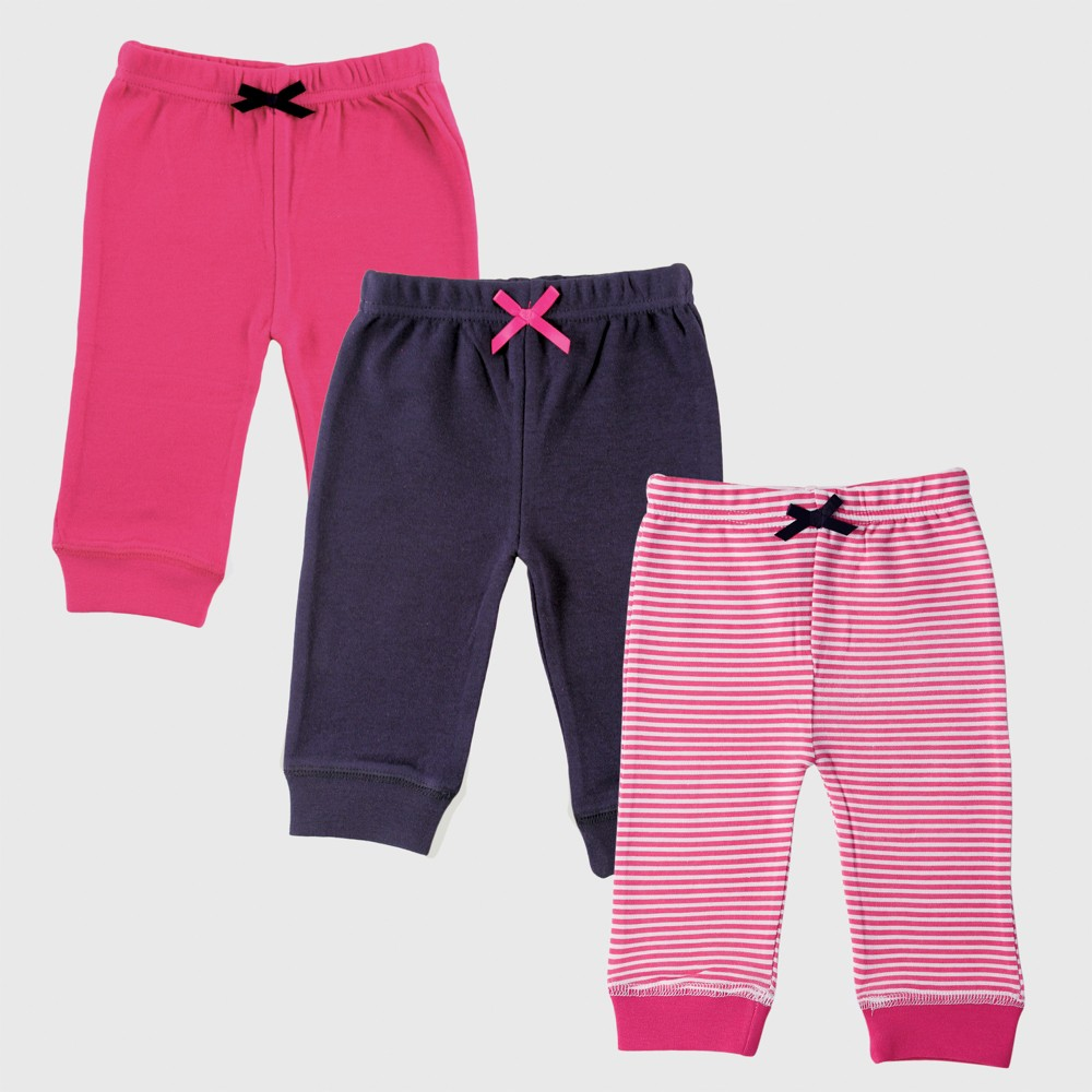 Luvable Friends Baby Girls' 3pk Tapered Ankle Pants - Navy/Pink 0-3M, Blue