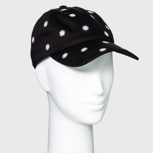 Women's Embroidered Daisy Baseball Hat - Wild Fable™ Black - image 1 of 2