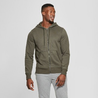 Men's Cotton Fleece Full Zip - C9 Champion® Bottle Green Heather L