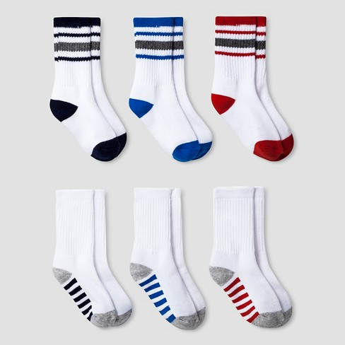 Boys' 6pk Cushioned Crew Socks Cat & Jack™ - Multicolor - image 1 of 1