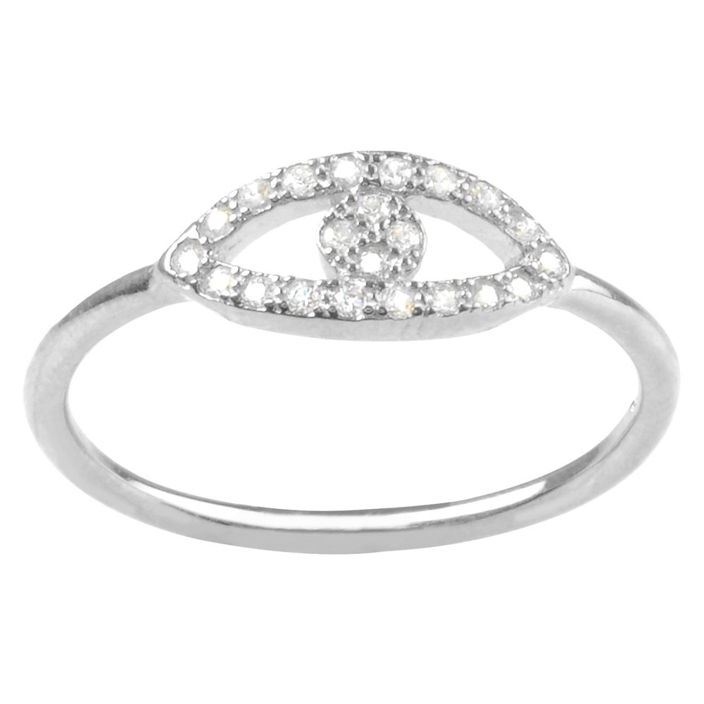 1/5 CT. T.W. Round-cut Cubic Zirconia Evil Eye Pave Set Ring in Sterling Silver - Silver, 6, Girl's
