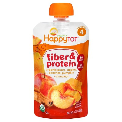 HappyTot Fiber & Protein Organic Pears Apples Peaches Pumpkin with Cinnamon Baby Food Pouch - 4oz