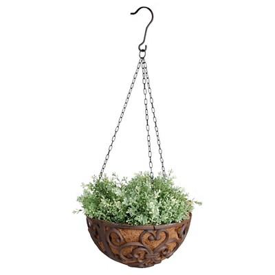 12  X12  X5.9  Cast Iron Hanging Basket With Coconut Liner - Brown - Esschert Design