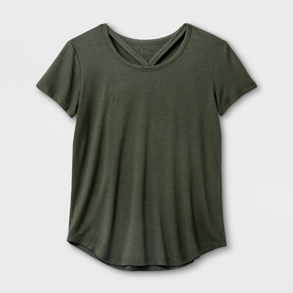 Girls' Short Sleeve Bar Front T-Shirt - art class Olive S, Green