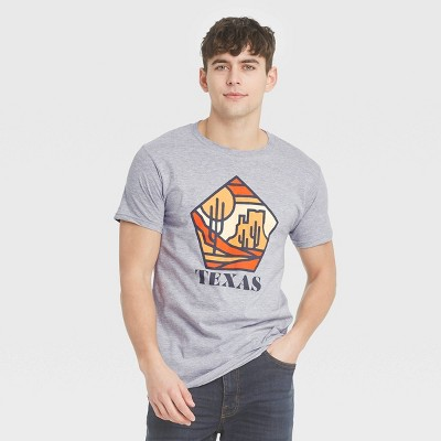 Men's Short Sleeve Texas Retro Cactus Graphic T-Shirt - Awake Gray