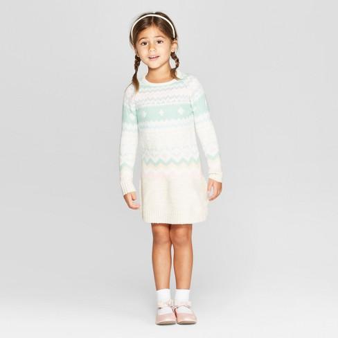 79a229231 Toddler Girls' Fair Isle Sweater Dress - Cat & Jack : Target