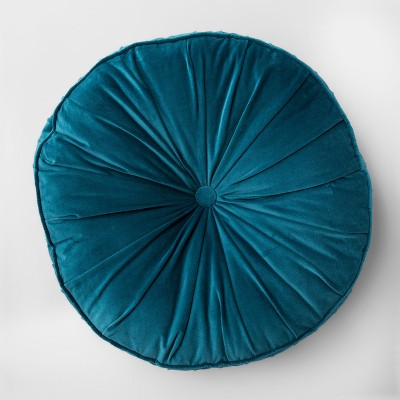 Floor Pillow Round Velvet Teal - Opalhouse™