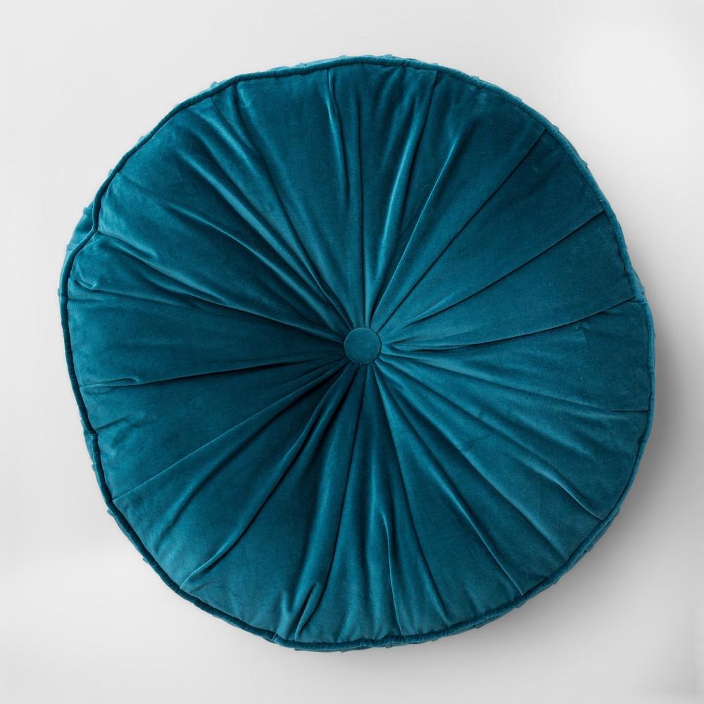Floor Pillow Round Velvet Teal (Blue) - Opalhouse