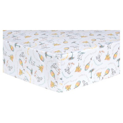 Dr. Seuss by Trend Lab Fitted Crib Sheet - Oh, the Places You'll Go! - Orange Quotes