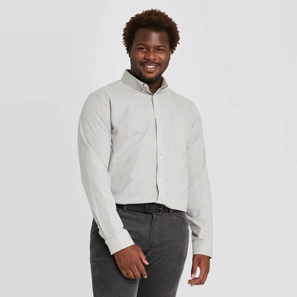 Discounts Men's Tall Standard Fit Stretch Poplin Long Sleeve Button-Down Shirt - Goodfellow & Co™ Gray
