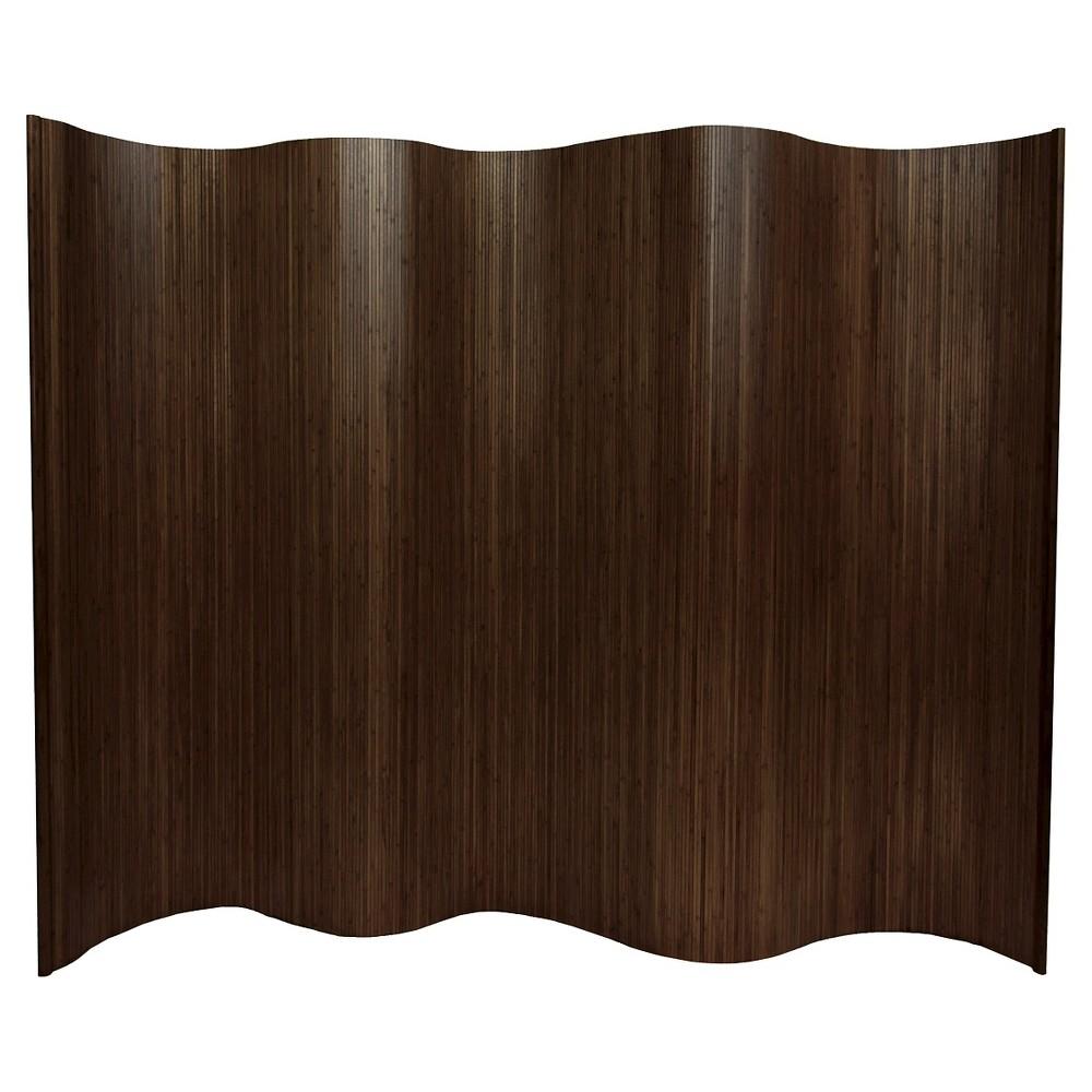 Oriental 6 ft. Tall Bamboo Wave Screen - Dark Mocha, Brown