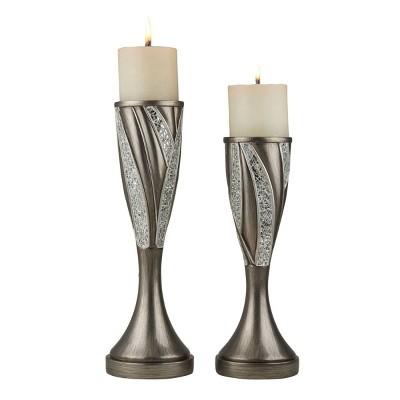 "Ok Lighting 12"" & 14""H Kairavi Candleholder Set (Candles Included)"