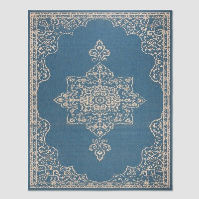"7'10""X10' Willodean Outdoor Rug Cream/Blue - Safavieh"