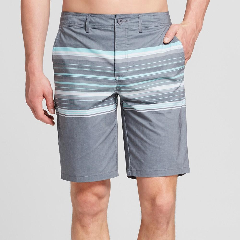 Men's Striped 10.5 River Hybrid Swim Shorts - Goodfellow & Co Grey Ember 32, Gray