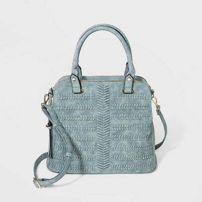 VR NYC Woven Denim Satchel Handbag - Blue