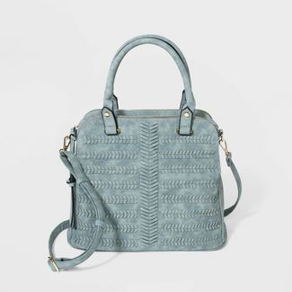 VR NYC Woven Denim Satchel Handbag - Blue