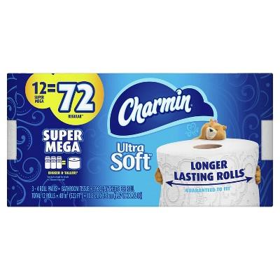 Charmin Ultra Soft Toilet Paper - 12 Super Mega Rolls