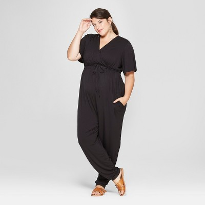 2aafd4f3470 Maternity Plus Size Knit Crossover Belted Jumpsuit - Isabel Maternity by  Ingrid   Isabel™ Black   Target