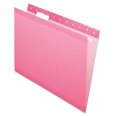 Pendaflex Reinforced Hanging Folders 1/5 Tab Letter Pink 25/Box 415215PIN