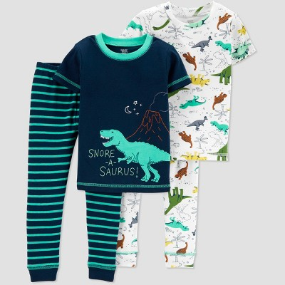 Baby Boys' 4pc Dino South Pajama Set - Just One You® made by carter's Blue 12M