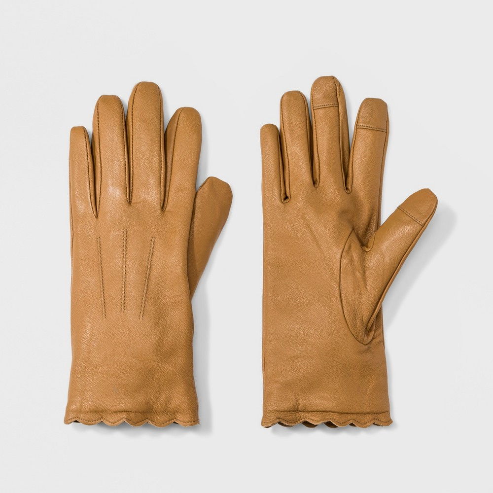 Vintage Style Gloves- Long, Wrist, Evening, Day, Leather, Lace Womens Striped Leather Scallops Gloves - A New Day Camel XSS $29.99 AT vintagedancer.com