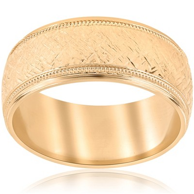 Pompeii3 10k Yellow Gold Men's Comfort-Fit Wedding 8MM Band With Etched Finish